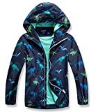 YILLEU Boys Rain Jackets Waterproof Lightweight Raincoats Cotton Lined Hooded Active Jackets Windbreakers for Kids 3D Printed Dinosaur Medium