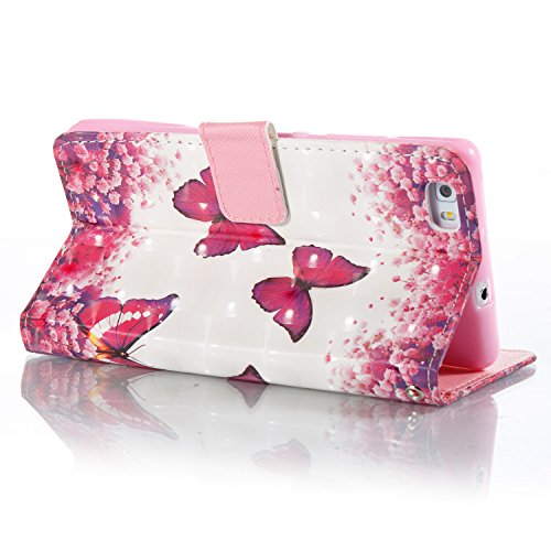 ZCRO Handytasche für Huawei P8 Lite 2015/2016, Leder Schutzhülle Brieftasche Hülle Flip Case 3D Muster Cover mit Kartenfach Magnet Tasche Handyhüllen für Huawei P8 Lite 2015/2016(Schmetterling Blume) - 4