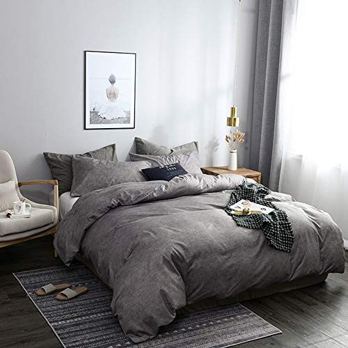 N/C Bettwäsche Set 135x200cm Grau Weich Microfaser Bettbezug Einzelbett und + 1 Kissenbezug 80x80cm