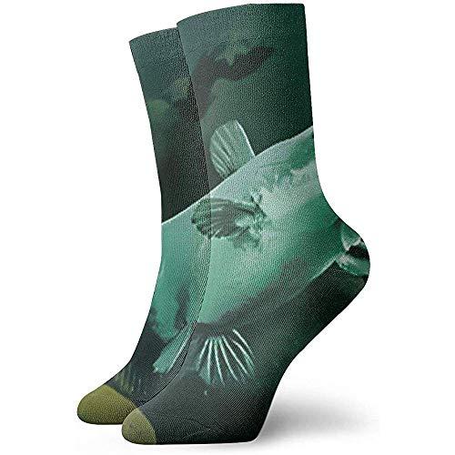 Dydan Tne Unisex Erwachsene Teens Green Catfish in River Crew Socken Kleid Baumwolle Dicke warme Socken