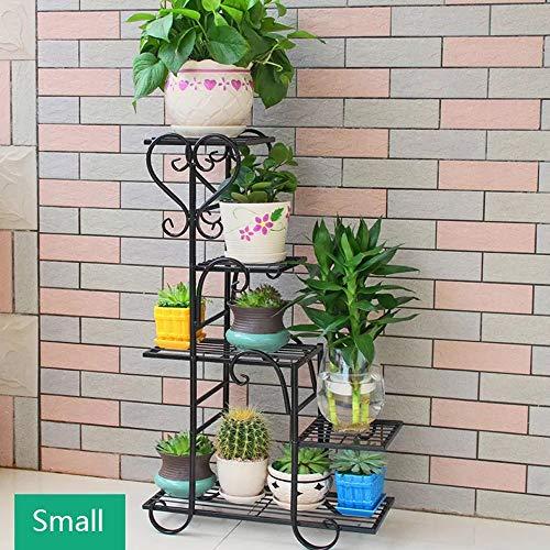 WKK Eisen Blumenständer, europäischen Indoor Blumentopf Halter, Wohnzimmer Balkon Pflanze Display-Ständer (DREI Größen sind optional) (Farbe : SCHWARZ, größe : 48 * 23 * 75cm)
