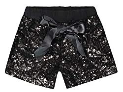 Black Sequin Short Pants with Bow