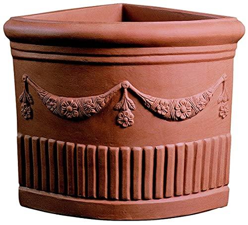 Vaso Resina Angolare Doppio Festone cm. 49 Terracotta