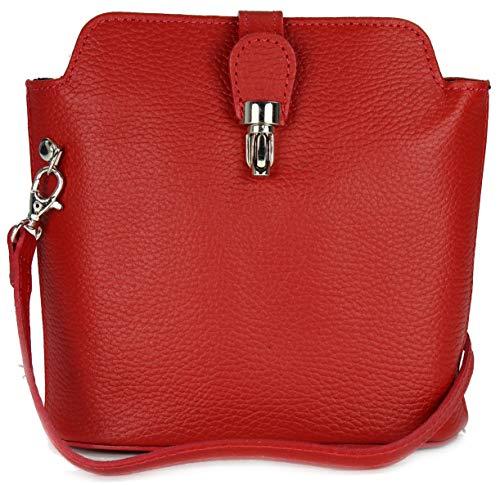 Belli kleine edle ital. Leder Handtasche Umhängetasche in rot - 18x20x8 cm (B x H x T)
