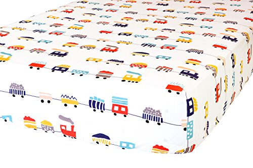 100% Organic Cotton Fitted Crib Sheet by ADDISON BELLE - Premium Baby Bedding - Soft, Breathable & Durable (Trains)