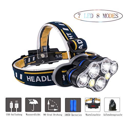 XHCDTOP Stirnlampe,Kopflampe LED USB Wiederaufladbar, Wasserdicht 8 Modi 5500 Lumen Kopfleuchten, für Camping, Mountainbiking,Laufen, Höhlenforschung, Klettern und andere Outdoor-Aktivitäten.