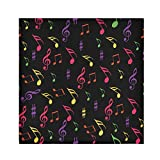 TropicalLife HaJie Tovaglioli colorati con note musicali, tovagliolo di carta satinata, in poliestere, riutilizzabili, per tavolo e bambini, 50,8 x 50,8 cm, 1 pezzo