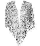 keland Brillante Shabl Wraps para mujer, con lentejuelas, con cuentas, de noche, Cape Flapper Bolero (Plata)
