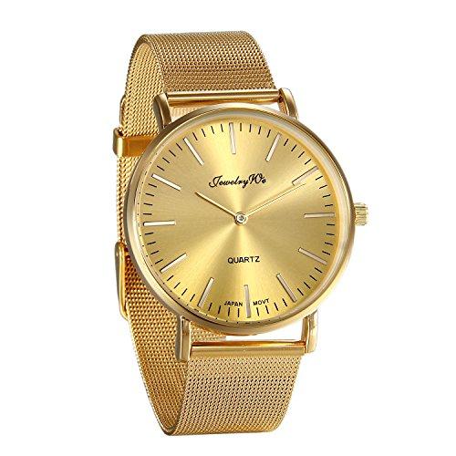 JewelryWe Herren Armbanduhr, Elegant 30M Wasserdicht Analog Quarz Uhr Modisch Zeitloses Design mit Edelstahl Mesh Armband Gold Vatertagsgeschenk