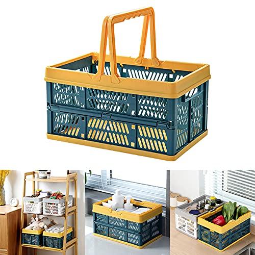 Barrageon Caisse Rangement Pliante Multifonction Empilables Handles Exterieur Cuisine Transport Fruit Légumes Jouet Pliable Boxes (Vert)