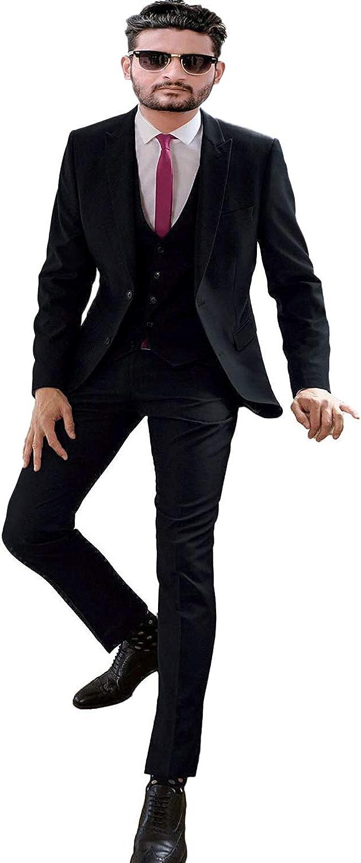 FAIOKAVER Men's Wedding Suits Regular Fit Formal Business Tuxedo Suits 3 PCS