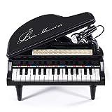 BAOLI 31 Tasten Schwarzes Klavier für Kinder mit Mikrofon Elektronische Orgel Musik Tastatur -