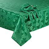 St Patrick's Day Tablecloth Green Shamrock Damask Easy-Care Fabric (60 x 84 Oval)