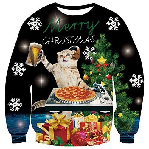 Fanient Weihnachtspullover für Herren 3D Drucken DJ Cat Muster Ugly Christmas Sweater L