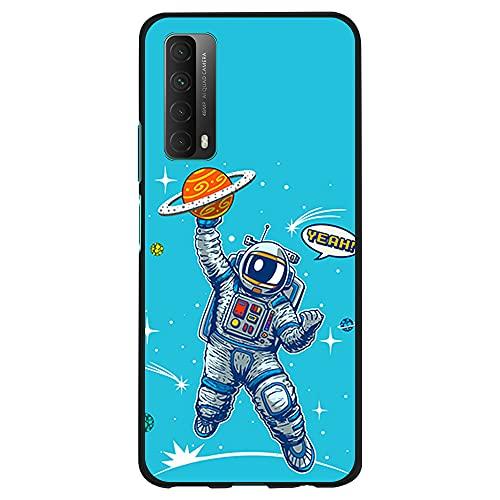 Funda Negra para [ Huawei P Smart 2021 / Y7A ], Carcasa de Silicona Flexible TPU, diseño : Astronauta Jugador de Baloncesto