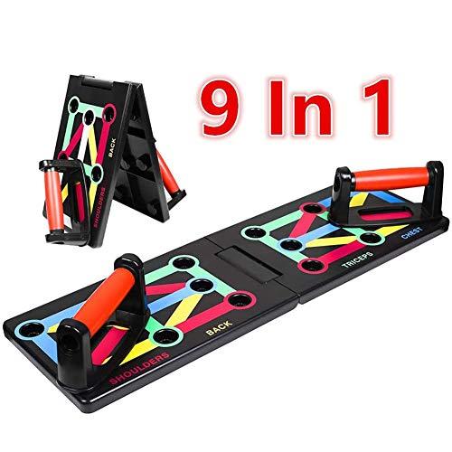 Opvouwbaar 9-in-1 push-up rack Board Train Gym Fitnesssysteem Workout Oefenstatieven voor borstspier/schouder/latissimus dorsi/triceps Home Fitness Training Unisex