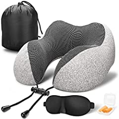 【Provide Perfect Support With perfect curves shape design, this memory foam travel pillow can better fix your neck, prevents head from falling forward, relieves neck pain during travel. The added adjustable rope lock, you can adjust the angle and the...