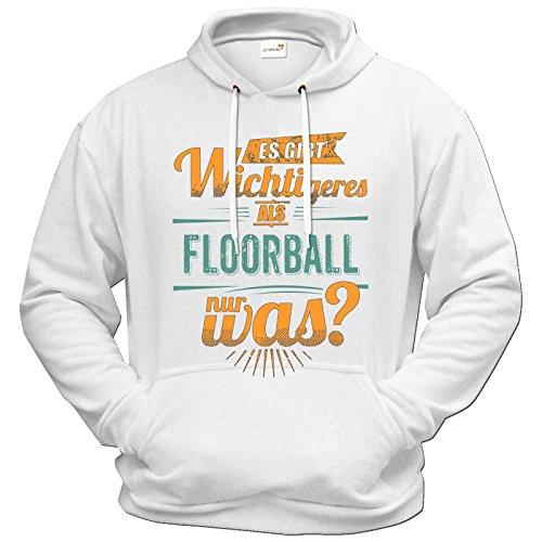getshirts - Rahmenlos® Geschenke - Hoodie - Sportart Floorball - es gibt wichtigeres als - Petrol - Weiss M