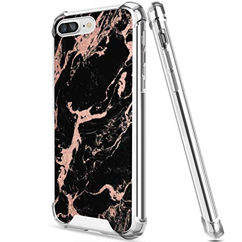 UZEUZA Funda para iPhone 7/8 Plus transparente Bumper Cover Anti-arañazos bordes transparentes con moderno lámina de oro rosa mármol negro