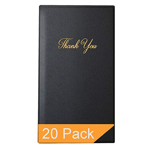 Restaurant Check Presenters - Guest Check Card Holder with Gold Thank You Imprint - 5.5' x 10' (Black 20 Pack)