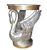Casa Padrino Barock Beistelltisch Schwan Silber/Gold - Nachttisch Konsole - Nachtschrank - Tisch - Luxury Collection