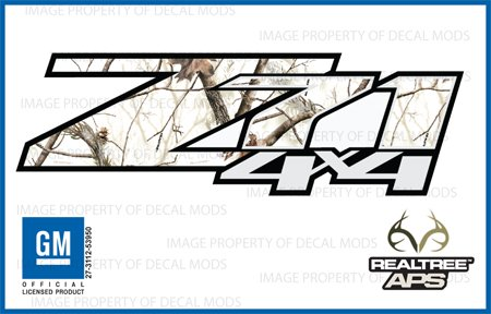 Decal Mods Z71 4x4 Decals Stickers Compatible with Chevy Silverado (2007-2013) 1500 2500 HD Pattern: Realtree AP Snow - APS (Set of 2)