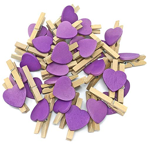 30 mm avec pince de 15 mm pour créatifs-Violet cœur Style Shabby Chic Vintage-Lot de 50