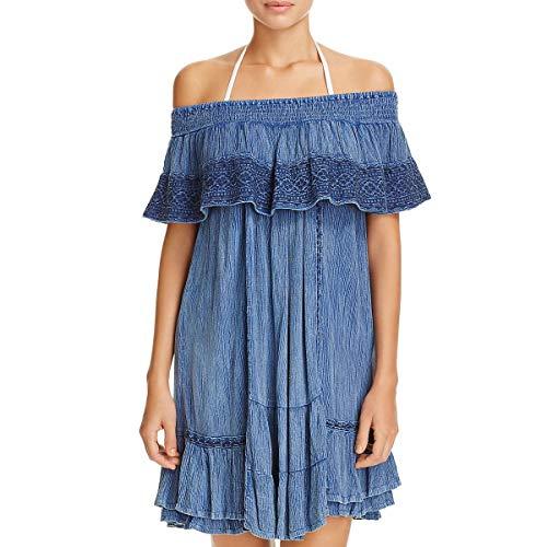 Muche et Muchette Womens Gavin Lace Trim Dress Swim Cover-Up Blue O/S