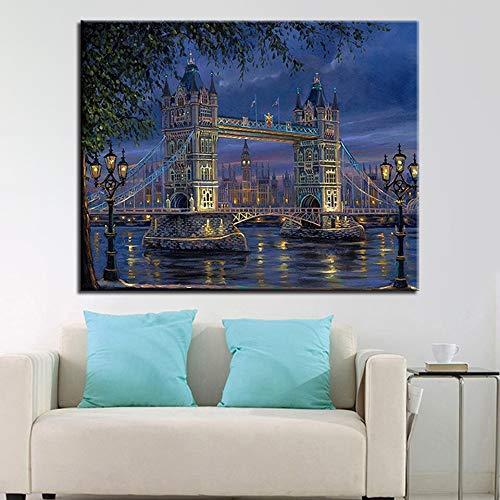 N / A Pintura sin Marco London Bridge caligrafía Lienzo
