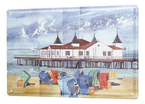 Blechschild Urlaub Reisebüro Deko Gemälde Strandkorb Pier 20x30 cm Metallschilder Nostalgie Küche