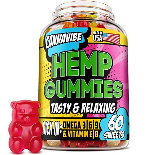 Cannavibe Hemp Gummies - Calm & Sleep Gummies with Hеmp Еxtract - Made in USA - Rich in Vitamin B & Omega 3-6-9 - 60 Pcs