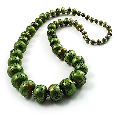 Avalaya - Collana lunga con perline in legno graduate, colore: verde e nero