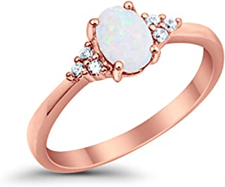 Accent Halo Wedding Promise Ring Oval Cut Cubic Zirconia Round CZ Rose Tone Plated 925 Sterling Silver Blue Apple Co