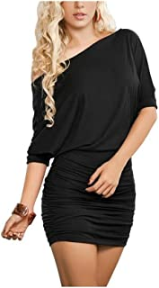 d638a4c02f Anxihanee Women s Sexy Off Shoulder Party Club Ruched Bodycon Mini Dress