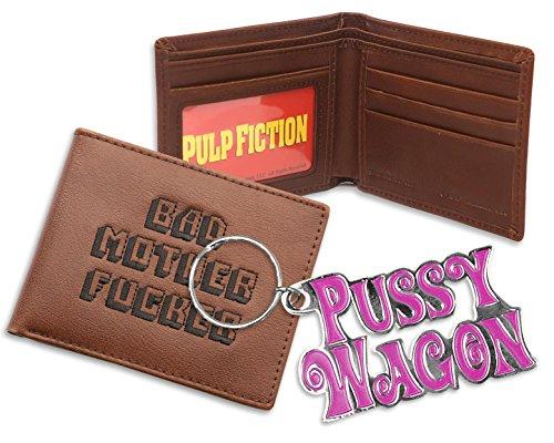 """Bad Mther Fucker, portafoglio nero con scritta in lingua inglese""""pussy wagon"""", portachiavi combo"""