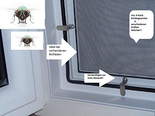 Fliegengitter- Fenster- Mücken- Insektenschutz- Alu- Weiss optimal für Rolläden (100cm x 120cm, 19mm Einhängewinkel)