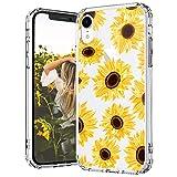 MOSNOVO iPhone XR Hülle, Sonnenblume Blühen Blumen Muster TPU Bumper mit Hart Plastik Hülle Durchsichtig Schutzhülle Transparent für iPhone XR (Sunflower)