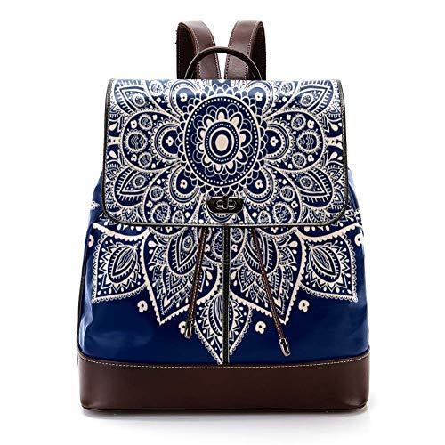 TIZORAX Hippie Henna Mandala mochila de piel sintética de moda, bolso de hombro, mochila de viaje para mujeres y niñas