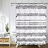 Uphome Duschvorhang aus Stoff, Boho-Stil, extra lang, schwarz & weiß, Quaste, Duschvorhang-Set mit Haken, afrikanisches Dreieck, Tribal-Streifen, strapazierfähig, wasserdicht, 72 x 84 cm