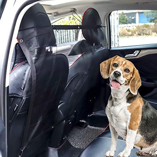 MengH-SHOP Hundegitter Netz Trenngitter Auto Hund Kofferraum Trenngitter Universal Verstellbares Sicherheitsbarriere für Hunde 115x62cm Schwarz