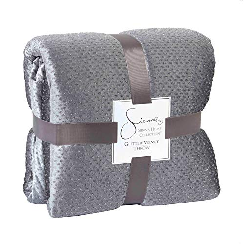 Sienna Couvre-lit de en Velours paillet/é avec Plaid Doux Gris argent/é 150 x 200 cm