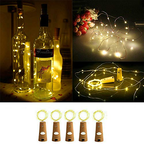 xingguang Decorative night light 5/10pcs Garland Wine Bottle Fairy String Lights 20 LED Battery Cork Copper Wire String Light For Christmas Party Wedding Decor (Emitting Color : Warm White 5pcs)