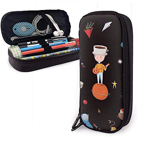 Spelen gitaar tiener schilderen potlood case briefpapier organisator multifunctionele make-up tas leer
