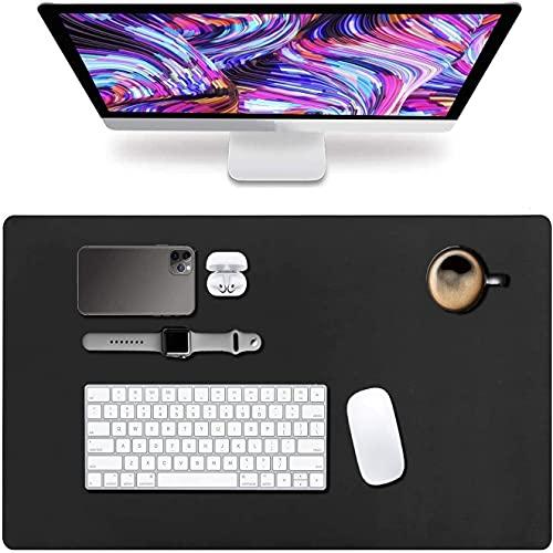 Alfombrilla de escritorio 2 en 1 grande, resistente al agua con base antideslizante Tapete de mesa, alfombrilla de escritura de escritorio para oficina y hogar, 80 x 40 cm (negro)