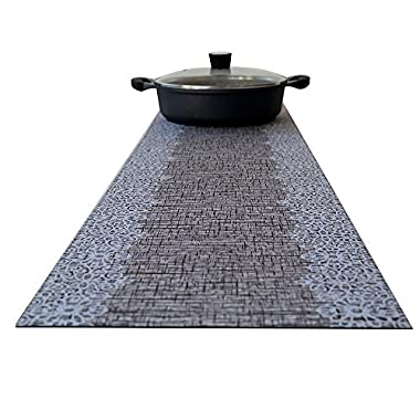 Hotrun Decorative Trivet and Kitchen Table Runners Handles Heat Up to 356F Anti Slip Hand Washable and Convenient for Hot Dishes and Pots (Wood & Lace)