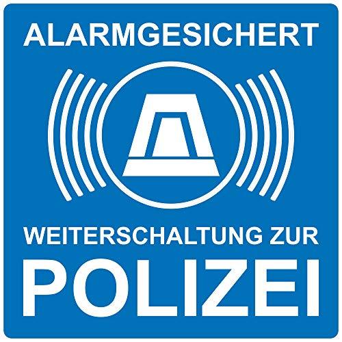 1 Stück Alarmgesichert Aufkleber Weiterleitung zur Polizei, 10 x 10 cm Hinweisaufkleber Alarmanlage, Premium Aufkleber Alarmanlage