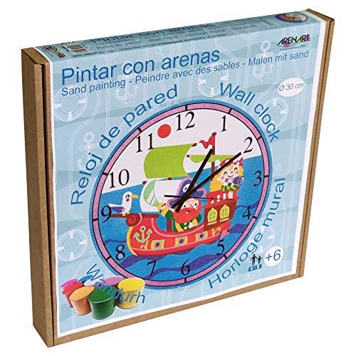 Arenart | Lámina Reloj Barco Pirata Ø30 cm | para Pintar con Arenas de Colores | Manualidades para Niños | Dibujo Infantil | Pintar por números | +6 años