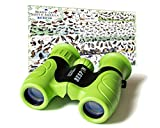 High-Resolution Kids Binoculars Set 8x21 - Bird Watching - Educational Learning - Birthday Gift- Hunting - Outdoor Camp - ( Rubber Shock Proof and Prism Coating ) Grass Green
