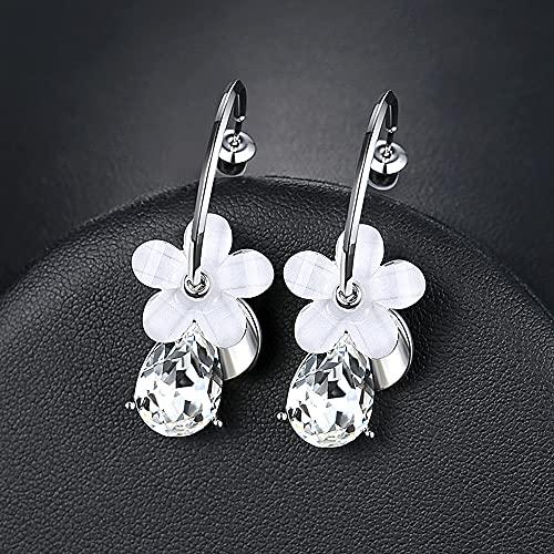 AZPINGPAN Pendientes de Flores de Moda Retro para Mujer, Colgantes de Diamantes con Forma de Gota de Agua, Pendientes exquisitos, pasadores de Oreja de Plata de Ley 925, Regalos de joyería para Bodas