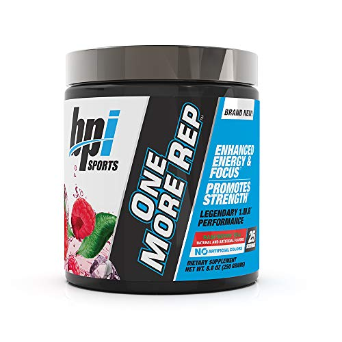 BPI Sports One More Rep Pre-Workout Powder - Increase Energy & Stamina - Intense Strength - Recover Faster - Beetroot - Carnitine - Citrulline - 0 Calorie - Raspberry Tea - 25 Servings - 8oz
